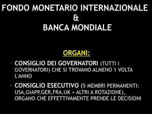 FMI E BANCA MONDIALE